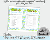 Baby Shower THE PRICE IS RIGHT game with green alligator and blue color theme, instant download - ap002