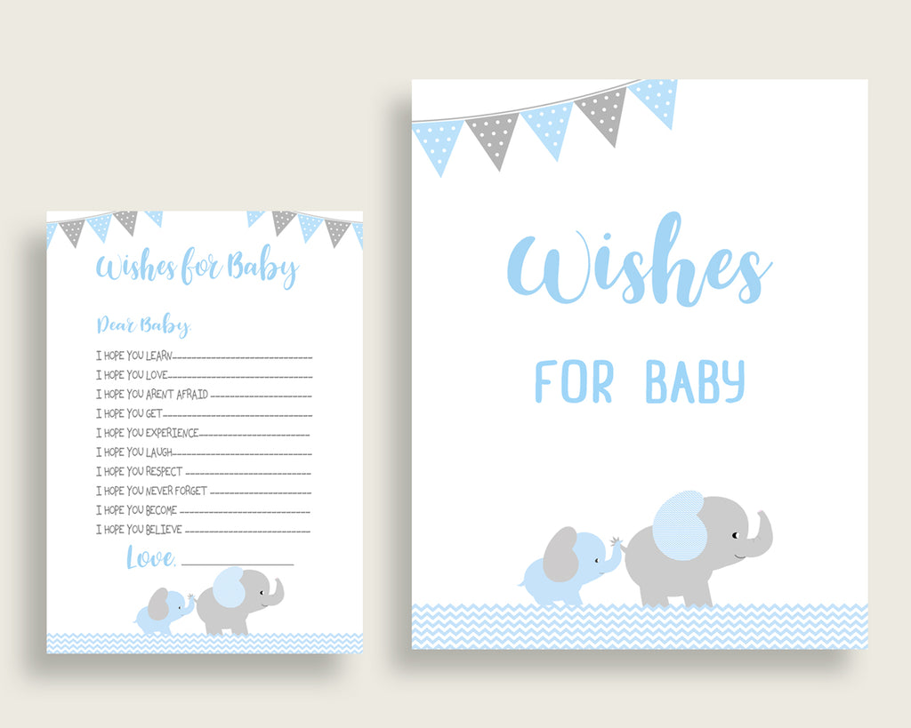 Blue Grey Wishes For Baby Cards & Sign, Elephant Baby Shower Boy Well Wishes Game Printable, Instant Download, Mammoth Trunk Most ebl02