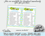 CELEBRITY BABY NAMES baby shower game with green alligator and blue color theme, instant download - ap002