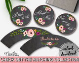 Chalkboard Flowers Bridal Shower Cupcake Toppers And Wrappers in Black And Pink, cupcake folder, chalk bridal shower, paper supplies - RBZRX - Digital Product