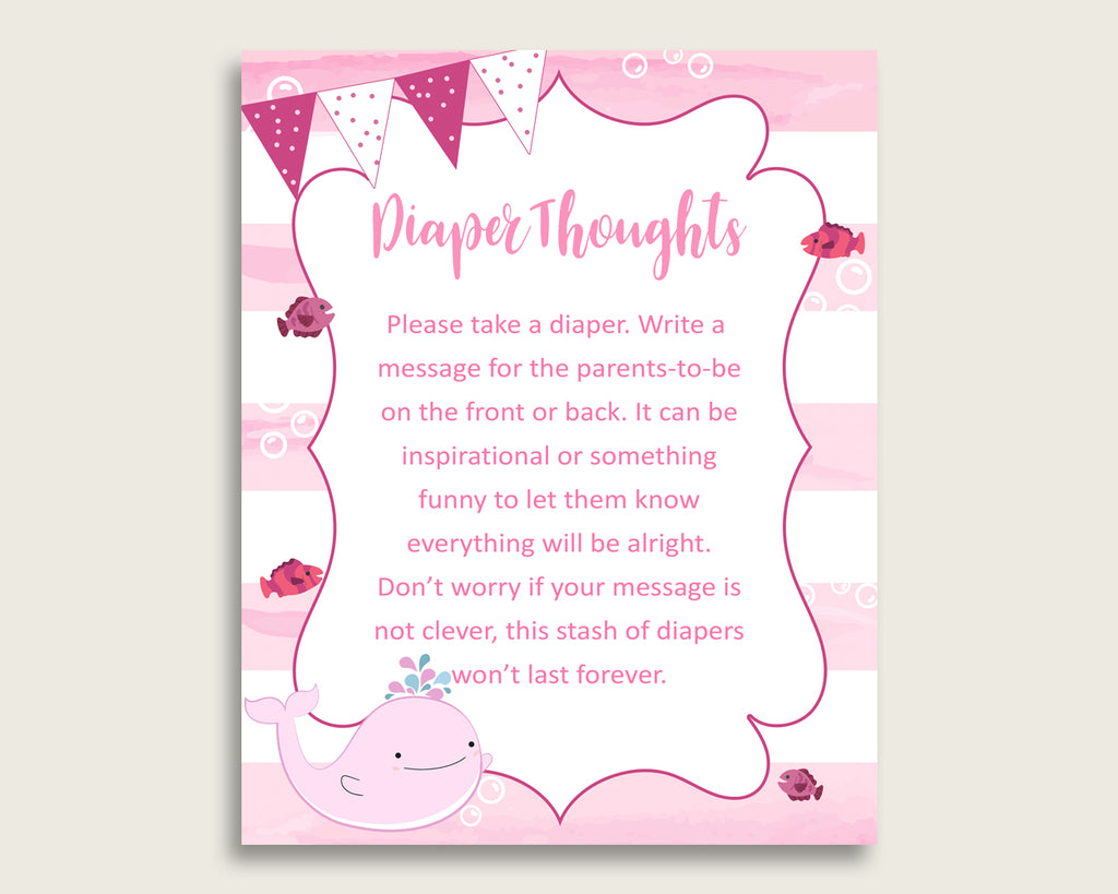 Pink Whale Baby Shower Diaper Thoughts Printable, Girl Pink White Late Night Diaper Sign, Words For Wee Hours, Write On Diaper Message wbl02