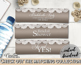 Brown And Silver Traditional Lace Bridal Shower Theme: Bottle Labels - water bottle labels, silver bridal lace, instant download - Z2DRE - Digital Product