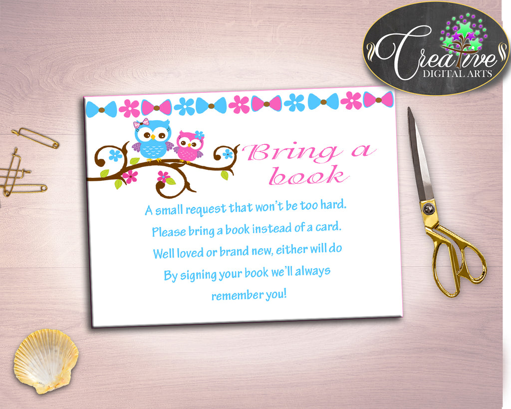 Bring A Book Baby Shower Bring A Book Owl Baby Shower Bring A Book Baby Shower Owl Bring A Book Pink Blue customizable files prints owt01