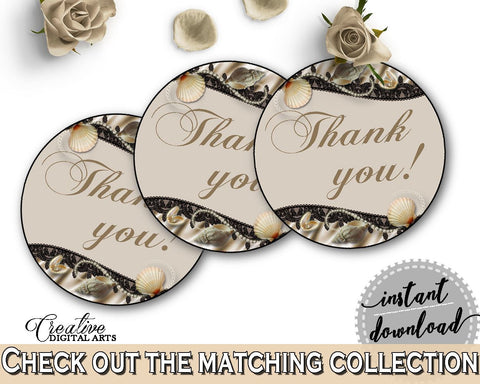 Brown And Beige Seashells And Pearls Bridal Shower Theme: Thank You Tag - round favour labels, necklace bridal, customizable files - 65924 - Digital Product