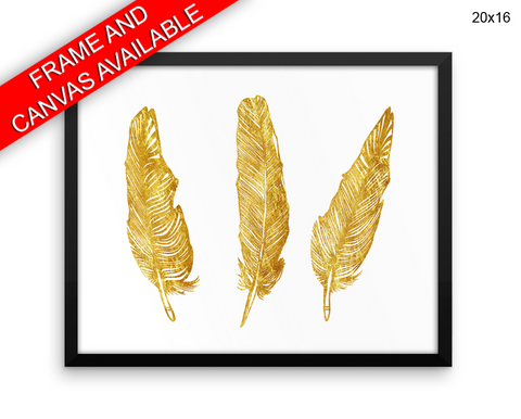Gold Print, Beautiful Wall Art with Frame and Canvas options available Feathers Decor