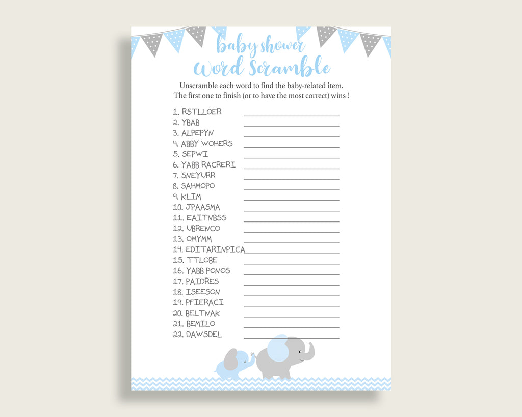 Boy Baby Shower Word Scramble Game Printable, Cute Elephant Blue Grey Word Scramble, Funny Activity, Instant Download, Mammoth Trunk ebl02