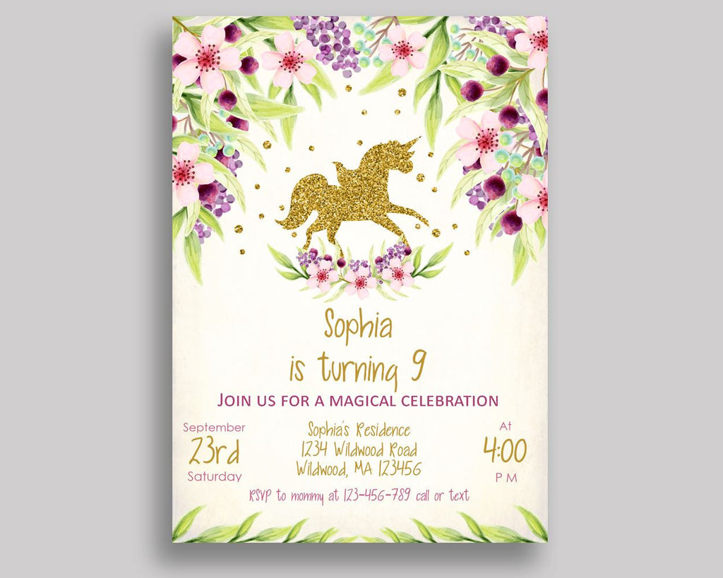 Unicorn Gold Birthday Invitation Unicorn Gold Birthday Party ...