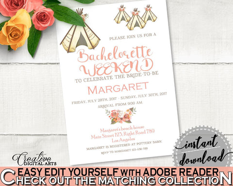 Bachelorette Weekend Invitation Bridal Shower Bachelorette Weekend Invitation Tribal Bridal Shower Bachelorette Weekend Invitation 9ENSG - Digital Product