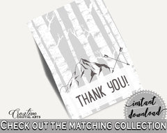 Thank You Card Baby Shower Thank You Card Adventure Mountain Baby Shower Thank You Card Gray White Baby Shower Adventure Mountain S67CJ - Digital Product