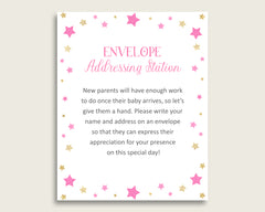 Pink Gold Baby Shower Address Sign Printable, Twinkle Star Envelope Station Sign, Envelope Addressing Baby Shower Girl, Cute Stars bsg01