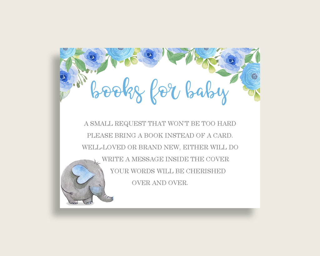 Elephant Blue Baby Shower Bring A Book Insert Printable, Boy Blue Gray Book Request, Elephant Blue Books For Baby, Book Instead Of ebl01