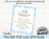 Little Lamb Baby Shower Boy DON'T SAY BABY game sheep printable blue theme, digital files, jpg pdf, instant download - fa001