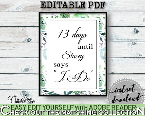 Days Until I Do Bridal Shower Days Until I Do Botanic Watercolor Bridal Shower Days Until I Do Bridal Shower Botanic Watercolor Days 1LIZN - Digital Product