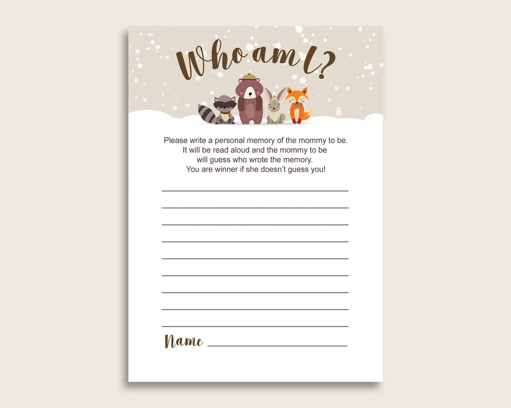 Winter Woodland Who Am I Game Printable, Gender Neutral Baby Shower Memory With Mommy, Beige Brown Baby Shower Activity, Instant RM4SN