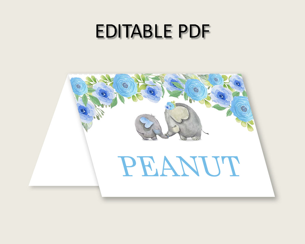 Elephant Blue Folded Food Tent Cards Printable, Blue Gray Editable Pdf Buffet Labels, Boy Baby Shower Food Place Cards, Instant ebl01
