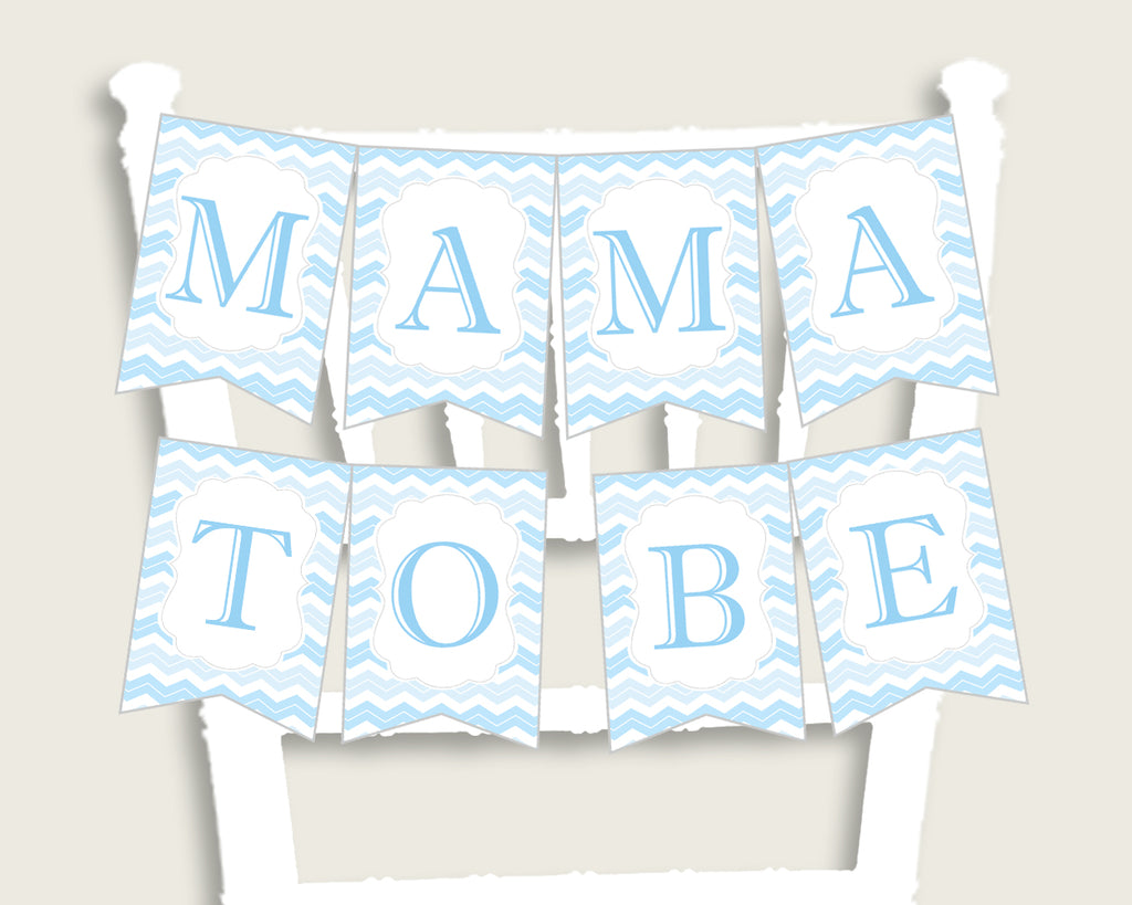 Chevron Baby Shower Chair Banner Printable, Blue White Chair Banner, Boy Shower, Mama To Be, Mommy, Dad Mom To Be, Instant Download, cbl01