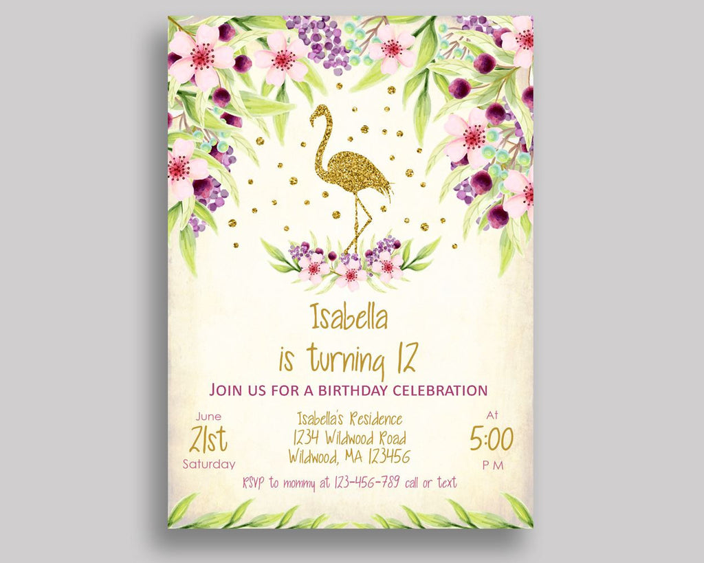 Flamingo Birthday Invitation Glitter Birthday Party Invitation Flamingo Birthday Party Glitter Invitation Girl pdf editable invite P3SIV - Digital Product