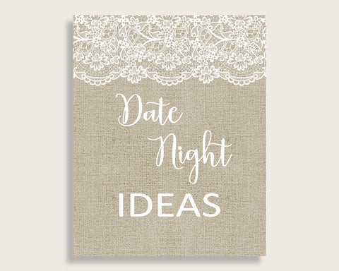 Date Night Ideas Bridal Shower Date Night Ideas Burlap And Lace