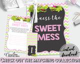 Baby shower GUESS THE SWEET MESS game cards tents and sign with green alligator and pink color theme, instant download - ap001