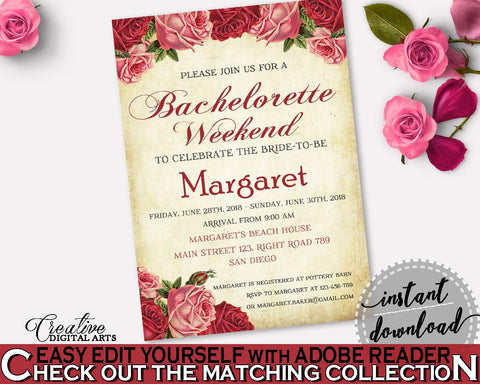 Bachelorette Weekend Invitation Bridal Shower Bachelorette Weekend Invitation Vintage Bridal Shower Bachelorette Weekend Invitation XBJK2 - Digital Product