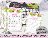 Baby Shower BINGO 60 cards game and empty gift BINGO cards with green alligator and pink color theme, instant download - ap001