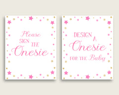 Pink Gold Please Sign The Onesie Sign and Design A Onesie Sign Printables, Twinkle Star Girl Baby Shower Decor, Instant Download, bsg01