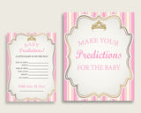 Royal Princess Baby Shower Prediction Cards & Sign Printable, Pink Gold Baby Prediction Game Girl, Instant Download, Tiara Crown Gold rp002
