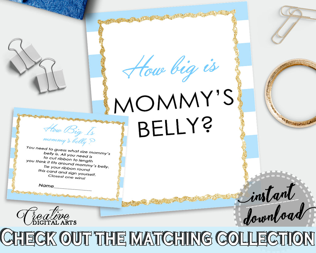How Big Is MOMMY'S BELLY baby shower printable game with blue and white stripes, glitter gold, Jpg Pdf, instant download - bs002