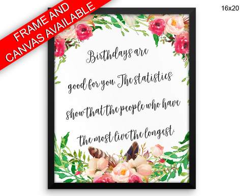 Birthday Print, Beautiful Wall Art with Frame and Canvas options available Funny Decor