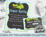 Baby shower DIAPER RAFFLE insert cards printable for baby shower with green alligator and blue color theme, Jpg Pdf, instant download - ap002