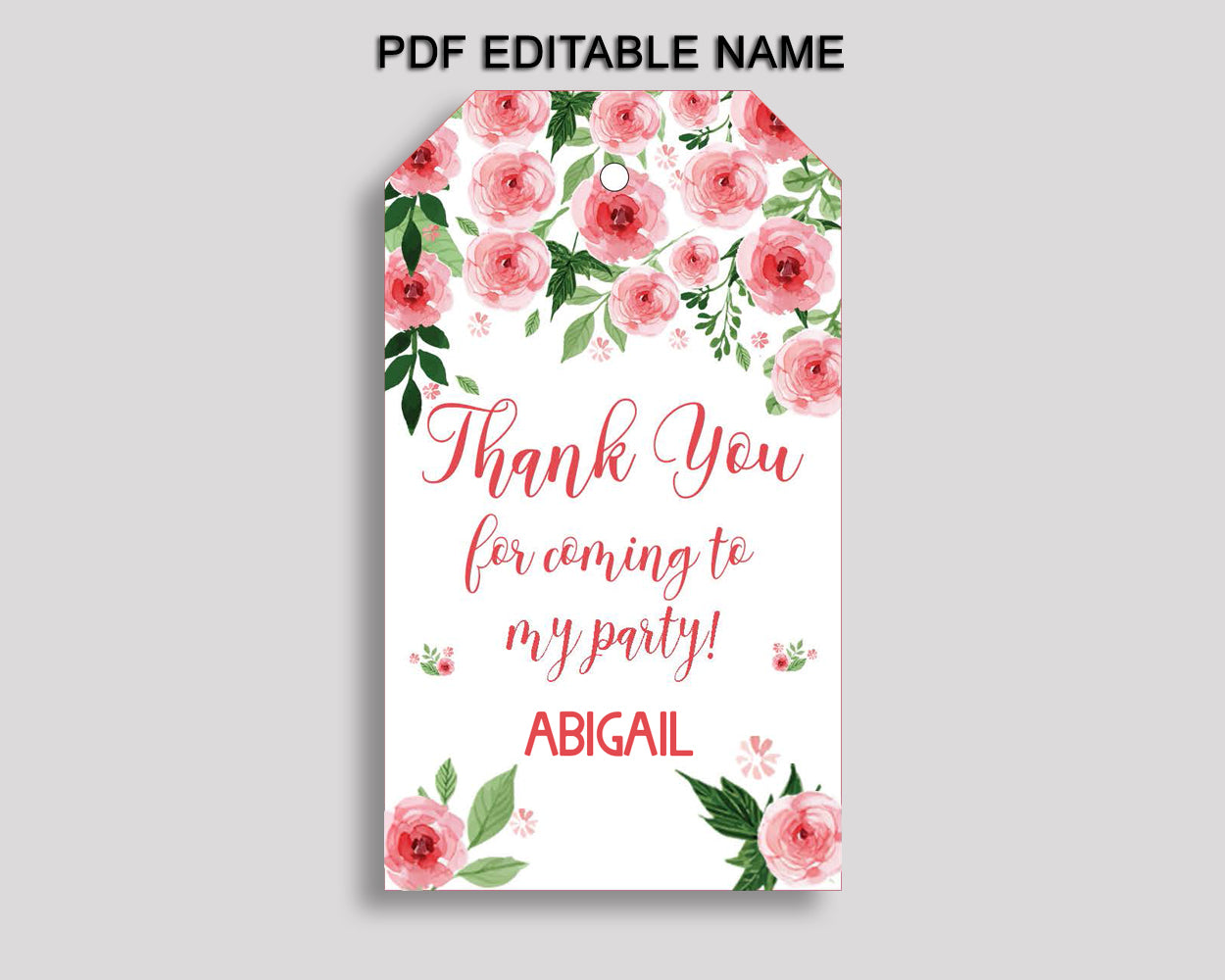 Watercolor Flowers Favor Tags Pink Green Party Tags Watercolor Flowers Birthday Tags Watercolor Flowers Thank You Tags Girl SLEPQ
