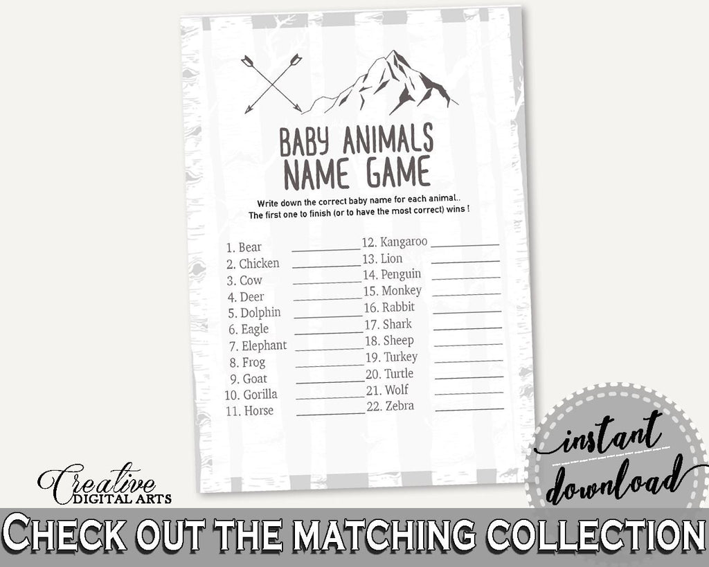 Baby Animal Names Baby Shower Baby Animal Names Adventure Mountain Baby Shower Baby Animal Names Gray White Baby Shower Adventure S67CJ - Digital Product