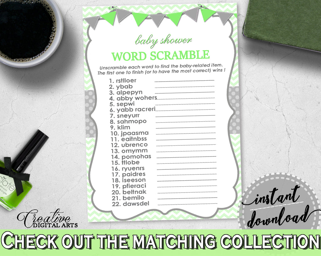 WORD SCRAMBLE baby shower game with chevron green theme printable, digital files, jpg pdf, instant download - cgr01