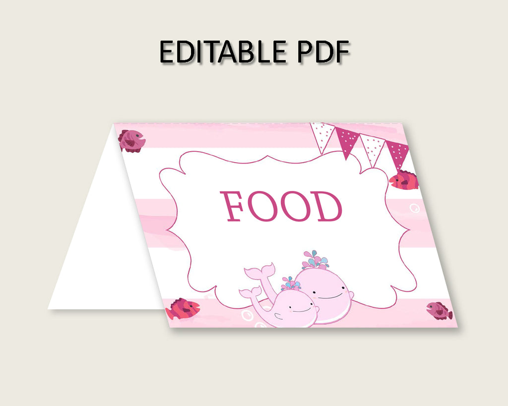 Pink Whale Folded Food Tent Cards Printable, Pink White Editable Pdf Buffet Labels, Girl Baby Shower Food Place Cards, Instant wbl02