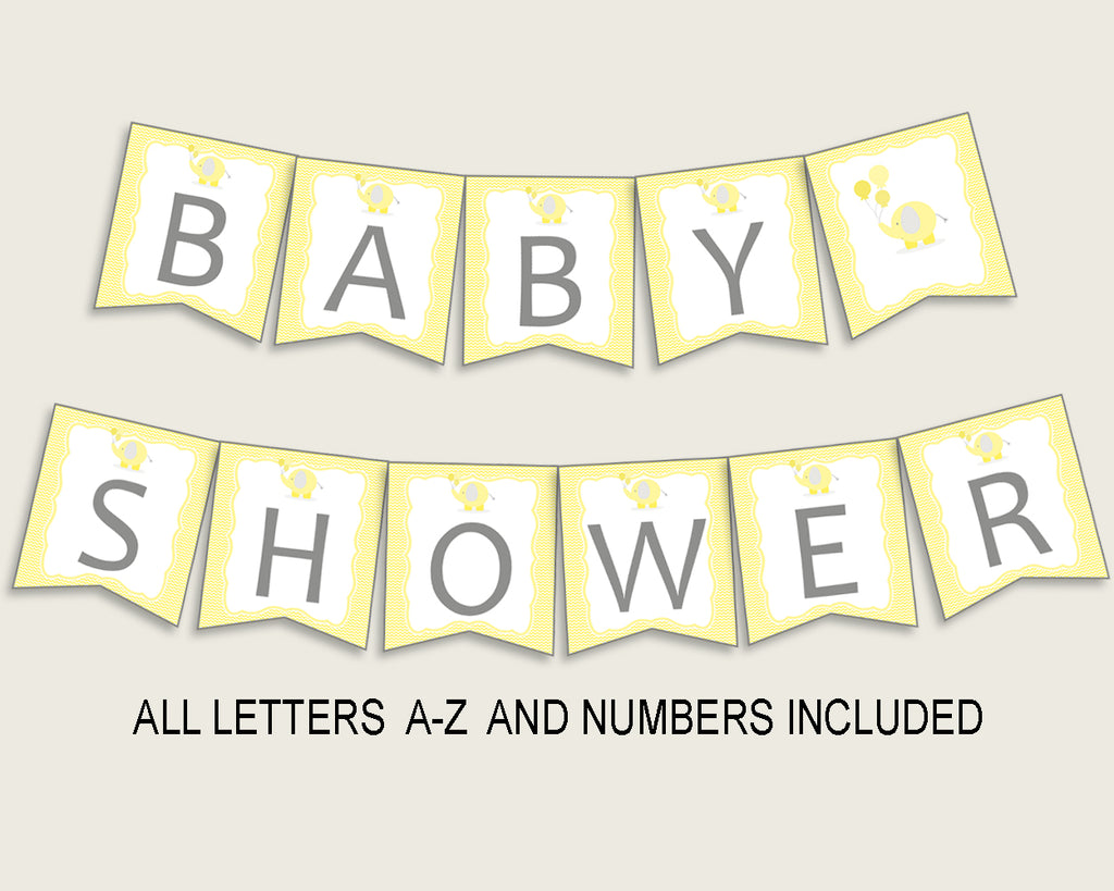 Banner Baby Shower Banner Yellow Baby Shower Banner Baby Shower Elephant Banner Yellow Gray shower activity customizable files digital W6ZPZ