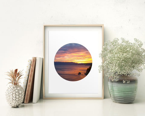 Sunset Prints Wall Art Sunset Digital Download Sunset Circle Art Sunset Circle Print Sunset Instant Download Sunset Frame And Canvas - Digital Download