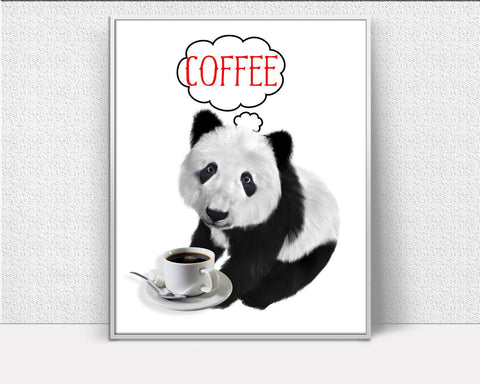 Wall Decor Coffee Printable Panda Prints Coffee Sign Panda Bar Art Panda Bar Print Coffee Printable Art Coffee Coffee Funny Poster Panda - Digital Download