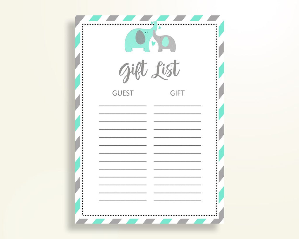 Gift List Baby Shower Gift List Turquoise Baby Shower Gift List Baby Shower Elephant Gift List Green Gray party décor party theme 5DMNH - Digital Product