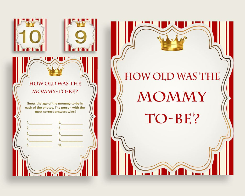Red Gold How Old Was The Mommy To Be, Boy Baby Shower Game Printable, Prince Guess Mommy's Age Game, Instant Download, Crown 92EDX