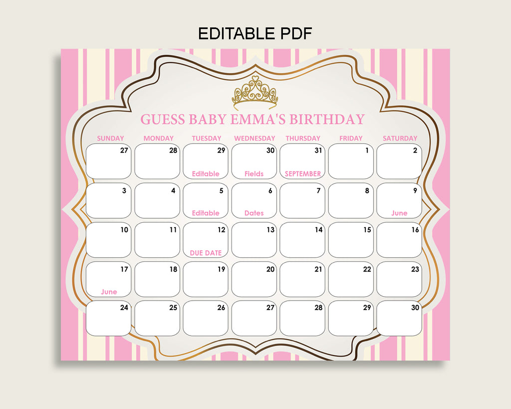Pink Gold Guess Baby Due Date Calendar Game Printable, Royal Princess Baby Shower Girl Birthday Prediction Calendar Editable, Instant rp002