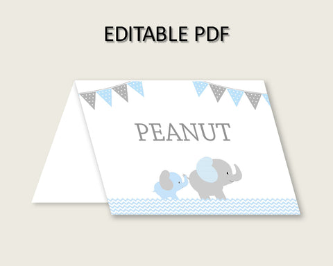 Elephant Folded Food Tent Cards Printable, Blue Grey Editable Pdf Buffet Labels, Boy Baby Shower Food Place Cards, Instant Download, ebl02
