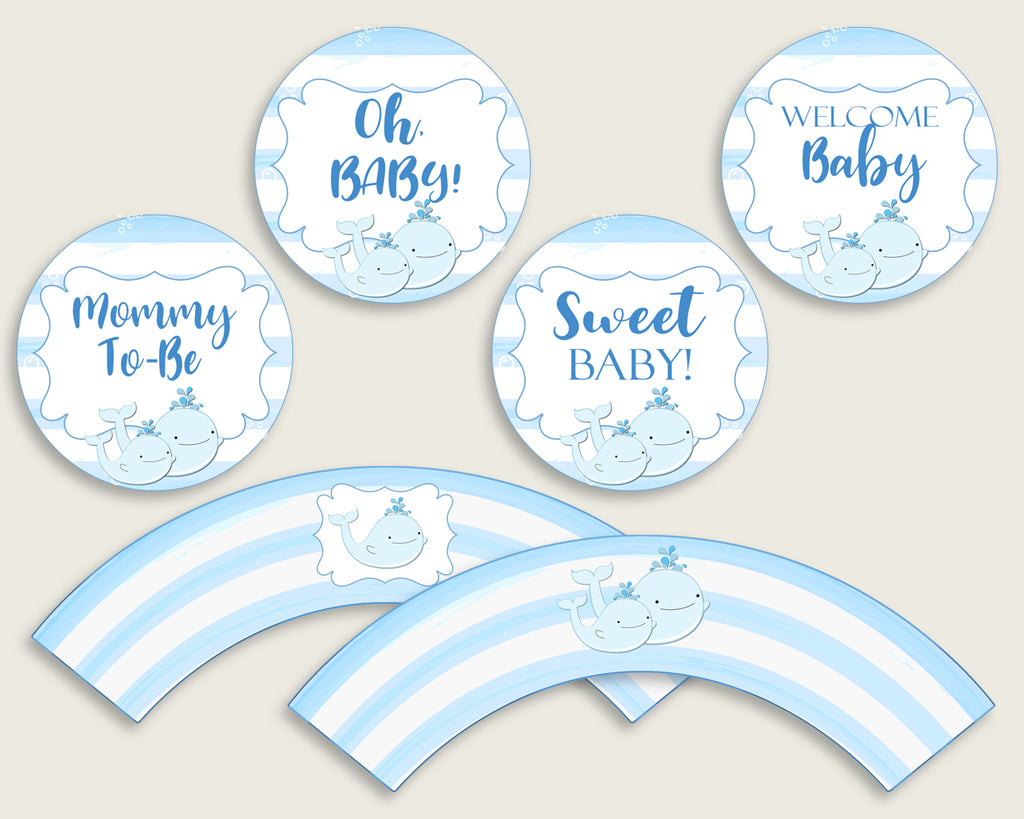 Whale Cupcake Toppers, Blue White Cupcake Wrappers, Toppers Wrappers Baby Shower Boy, Instant Download, Summer Popular Theme wbl01