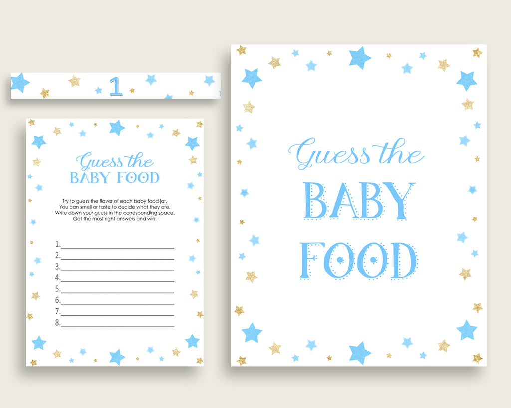 Blue Gold Stars Guess The Baby Food Game Printable, Boy Baby Shower Food Guessing Game Activity, Instant Download, Twinkle Twinkle bsr01