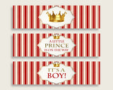 Red Gold Water Bottle Labels Printable, Prince Water Bottle Wraps, Prince Baby Shower Boy Bottle Wrappers, Instant Download, Crown 92EDX