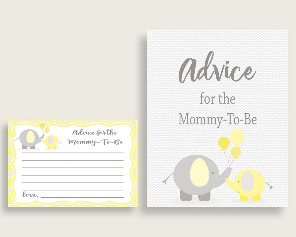 Advice Cards Baby Shower Advice Cards Yellow Baby Shower Advice Cards Baby Shower Elephant Advice Cards Yellow Gray pdf jpg prints W6ZPZ