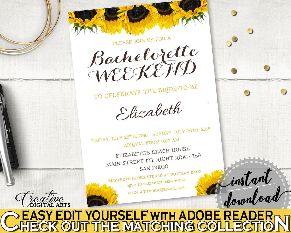 Bachelorette Weekend Invitation Bridal Shower Bachelorette Weekend Invitation Sunflower Bridal Shower Bachelorette Weekend Invitation SSNP1 - Digital Product