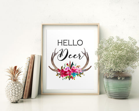 Wall Art Hello Deer Digital Print Hello Deer Poster Art Hello Deer Wall Art Print Hello Deer Home Art Hello Deer Home Print Hello Deer Wall - Digital Download