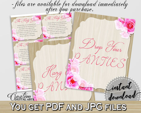 roses on wood bridal shower drop your panties in pink and beige underwear game
