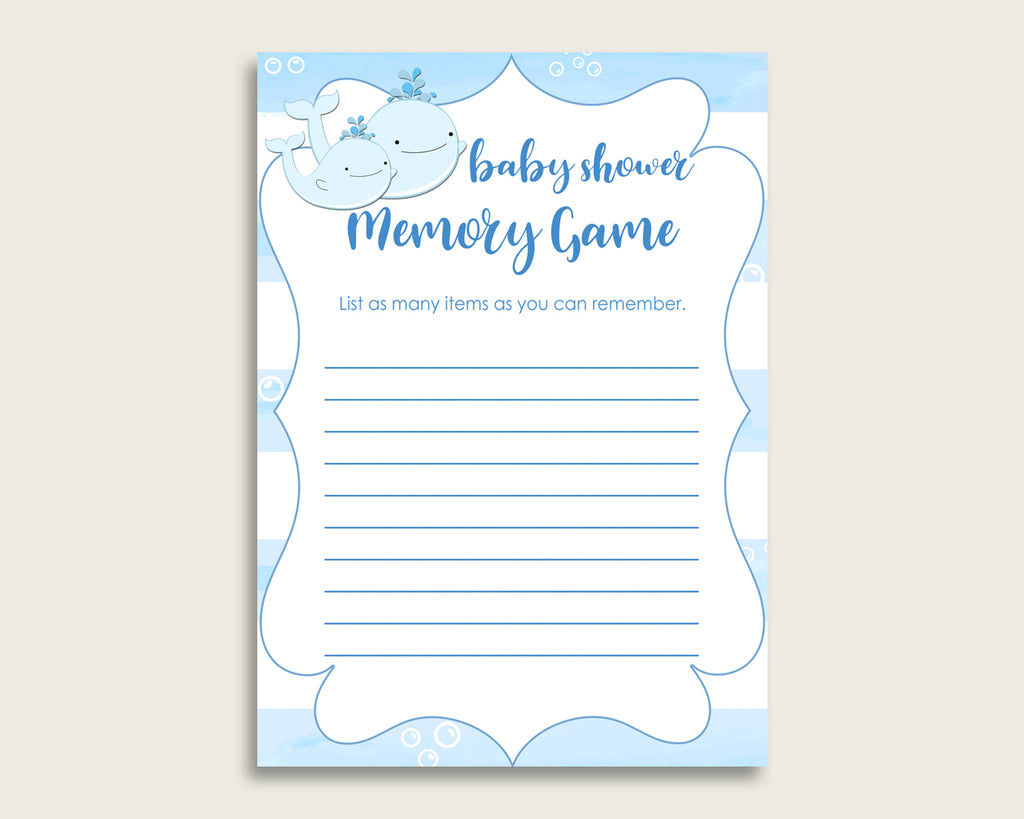 Whale Baby Shower Memory Game, Blue White Memory Guessing Game Printable, Baby Shower Boy, Instant Download, Light Blue Nautical Sea wbl01