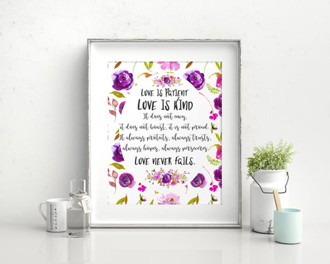 Wall Art Love Is Patient Love Is Kind Digital Print Love Is Patient Love Is Kind Poster Art Love Is Patient Love Is Kind Wall Art Print Love - Digital Download